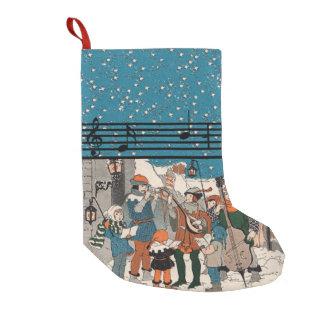 Musical Notes Christmas Carolers Stars Village Small Christmas Stocking