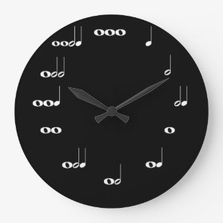 Musical Notes Clock Black