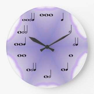 Musical Notes Clock on Lavender background
