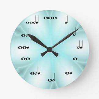 Musical Notes Clock on light Blue