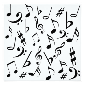 Musical Notes Customizable Invitation Black White