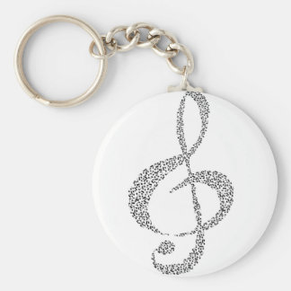 Musical Notes Design Basic Round Button Key Ring