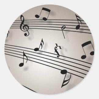 Musical Notes Design Classic Round Sticker