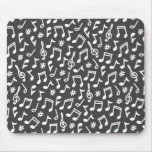 Musical notes grey white scribbly music pattern mouse pad