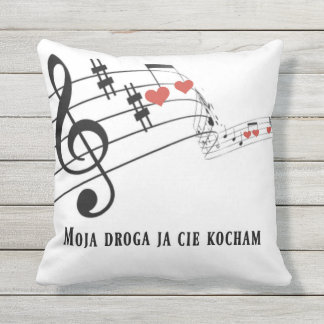 Musical Notes, hearts, Tremper Golden Strings Outdoor Cushion