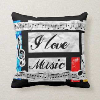 Musical Notes I Love Music Throw Pillow
