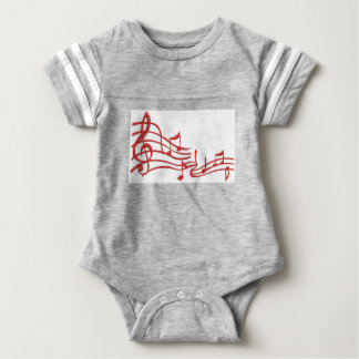 musical notes - imitation of embroidery baby bodysuit