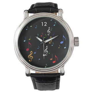 musical notes in colors watch