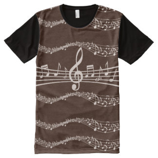 Musical Notes in Shades of Brown All-Over Print T-Shirt