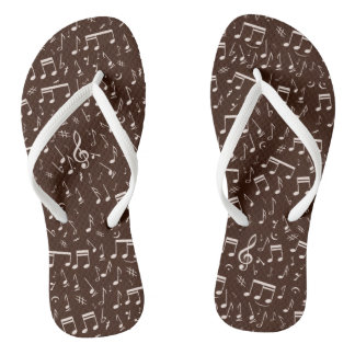 Musical Notes in White Pattern Sprinkle on Brown Thongs