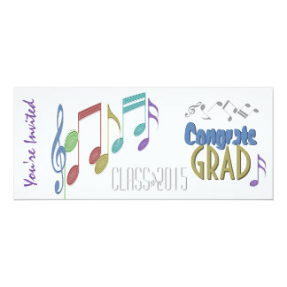 Musical Notes Linear Multicolor GRADUATION PARTY 4x9.25 Paper Invitation Card