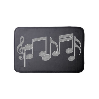 Musical Notes Linear Silver Bath Mat