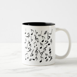 Musical Notes Mug - White & Black