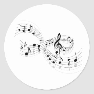 Musical Notes On A Staff Line Stickers Round Sticker