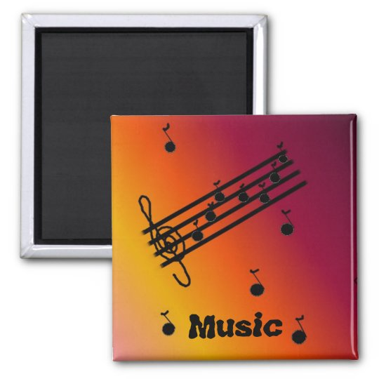Musical Notes on a Varigated Background Magnet