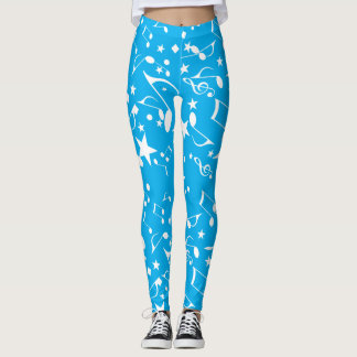 Musical Notes on Blue Leggings