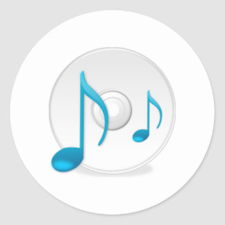 Musical Notes on CD Round Sticker