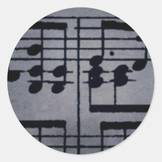 Musical Notes on Purple Round Sticker