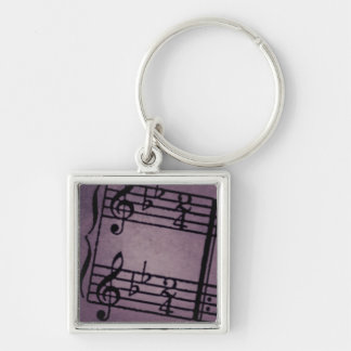 Musical Notes on Rough Purple Silver-Colored Square Key Ring