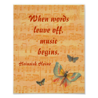 Musical Notes on Staff with Butterflies Heine Poster