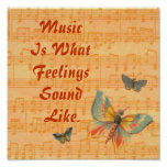 Musical Notes on Staff with Butterflies Poster
