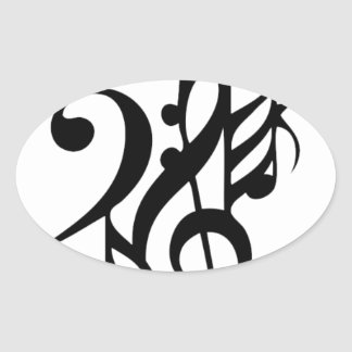 Musical_notes Oval Sticker