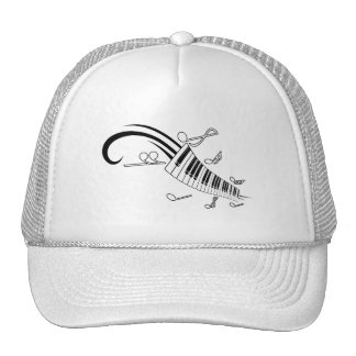 MUSICAL NOTES PIANO KEYBOARD TATTOO GRAPHICS CAP