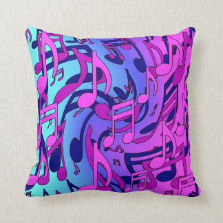 Musical Notes Pink Blue Purple Aqua Art Pattern Cushion