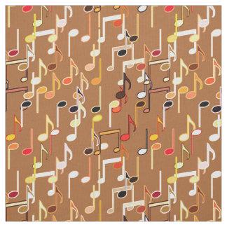 Musical Notes print - Caramel Tan, Multi Fabric