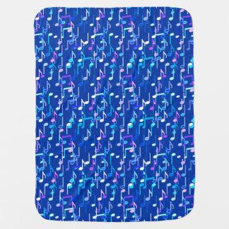 Musical Notes print - indigo blue, multi Baby Blanket