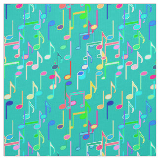 Musical Notes print - turquoise, multi Fabric