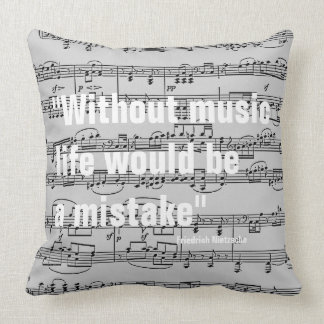 musical notes & quote cushion