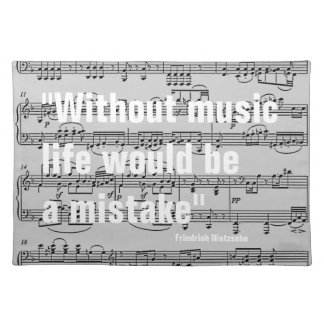 musical notes & quote place mats