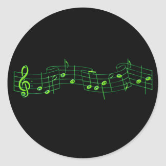 Musical Notes Round Stickers