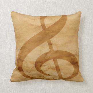 Musical Notes Tan Throw Pillow