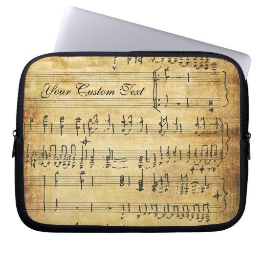 Musical Notes Vintage Grunge Parchment Laptop Sleeve