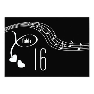 Musical Notes Wedding Table Number Card