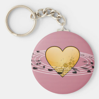 Musical Notes with Heart Design Key Ring