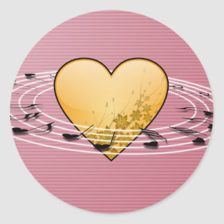 Musical Notes with Heart Design Round Sticker