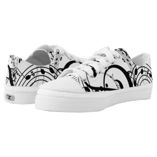 Musical Notes Zipz Low Top Printed Shoes