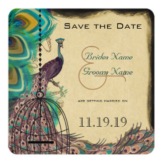 Musical Peacock Bird Cage Eggplant Save the Date 13 Cm X 13 Cm Square Invitation Card