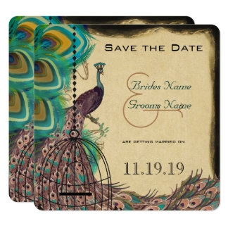 Musical Peacock Bird Cage Eggplant Save the Date Card
