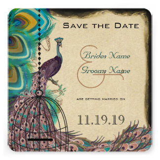 Musical Peacock Bird Cage Eggplant Save the Date Personalized Invitation