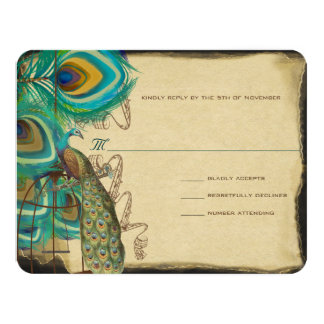Musical Peacock Bird Cage Feather Wedidng RSVP 11 Cm X 14 Cm Invitation Card