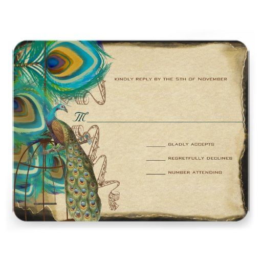 Musical Peacock Bird Cage Feather Wedidng RSVP Custom Invitations