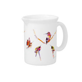 """Musical Perches"" Hummingbird Print Beverage Pitchers"