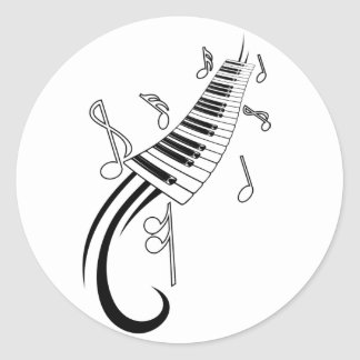 Musical Piano Classic Round Sticker