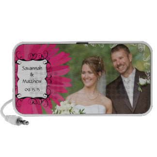 Musical Pink Gerber Swirl Your Wedding Photo iPhone Speaker