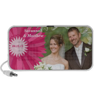 Musical Pink Gerber Swirl Your Wedding Photo Mp3 Speakers