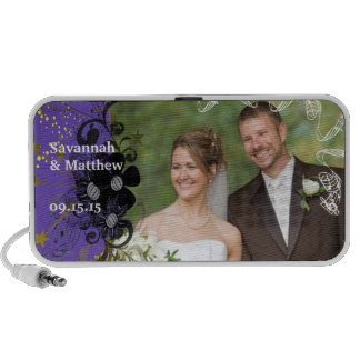 Musical Purple Gerber Swirl Your Wedding Photo Portable Speakers